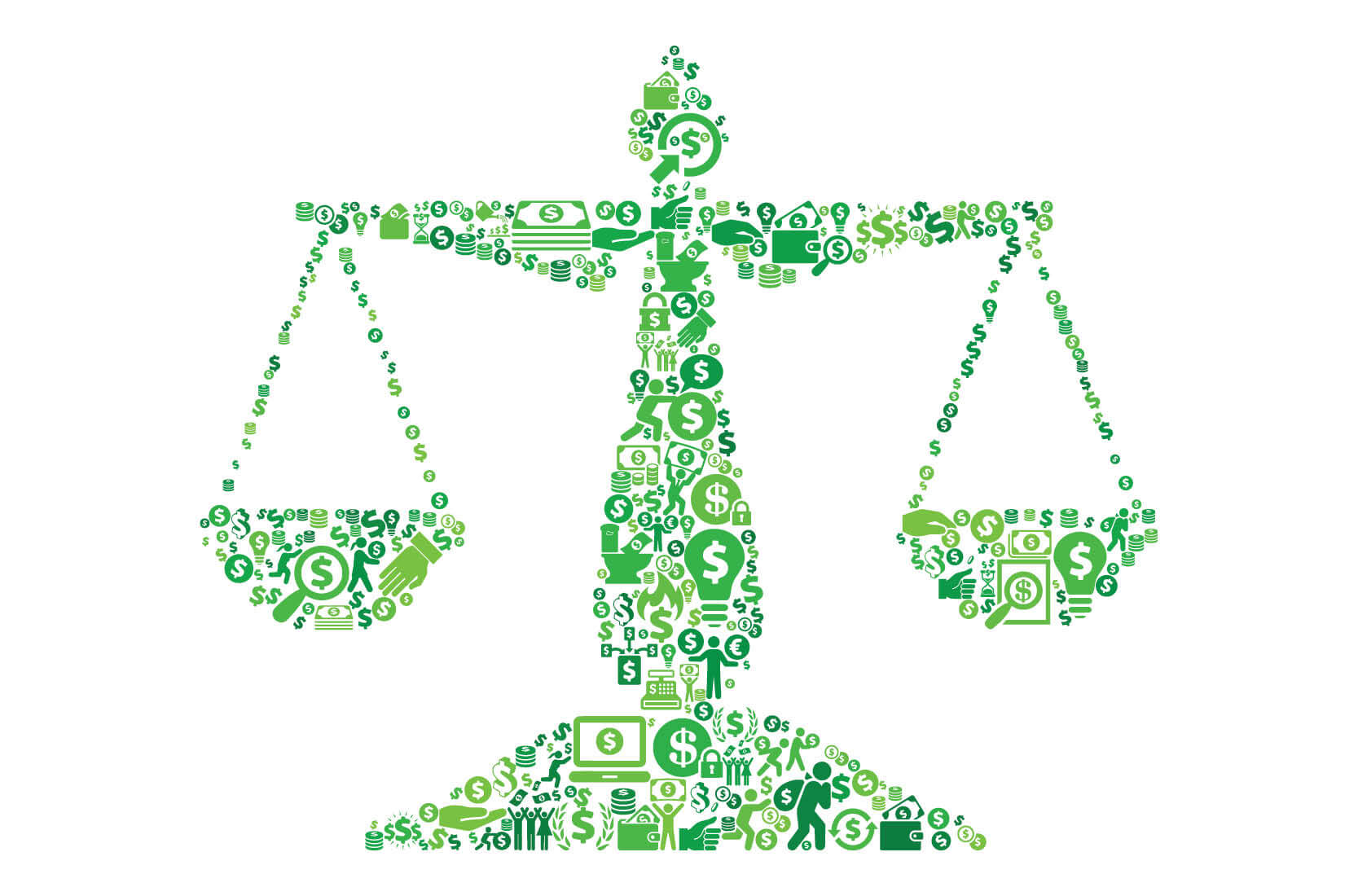 Justice Balance Money and Finance Green Vector