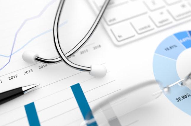 Stock Market Hospital Healthcare Finance Account Report Big Data Stock Image