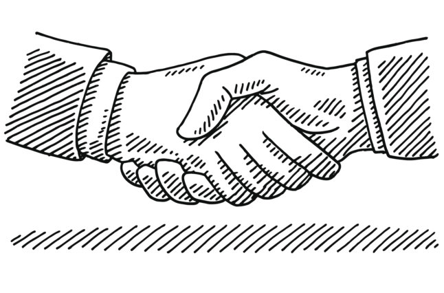 Illustration for a handshake