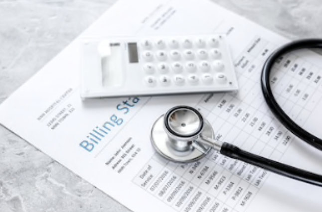 Medical Treatment Billing Statement With Stethoscope And Calculator On Stone Background Stock Image