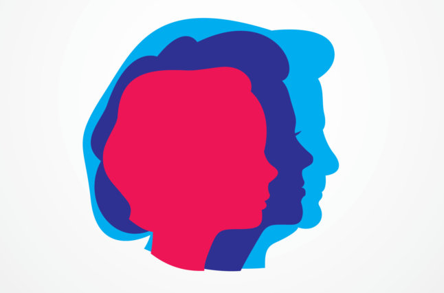 Purple, blue and red silhouettes of women showing aging.