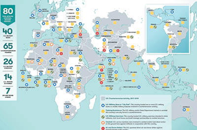 World map showing where the U.S. military currently operates