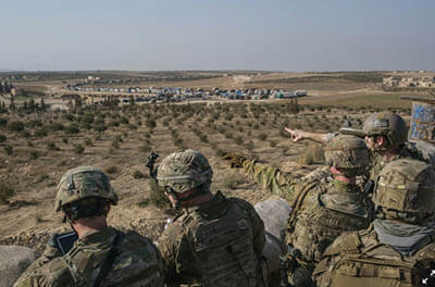 American Special Forces troops at an outpost outside the town of Manbij in northern Syria in 2018