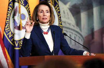 House Speaker Nancy Pelosi speaks during a press briefing on Capitol Hill, Washington, D.C., January 17, 2019