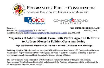 Press release for 2-29-20 Citizen Panel Event in Berkeley Heights, NJ
