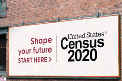 Billboard encouraging people to fill in their 2020 census forms