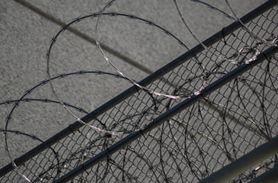 Image of razor wire at the top of a boarder fence