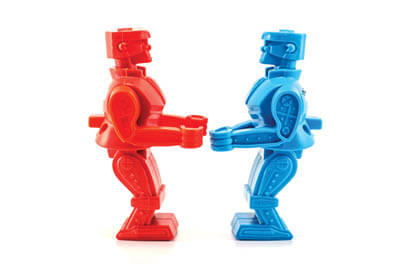 Two Rock 'm Sock 'm robots - one red and one blue