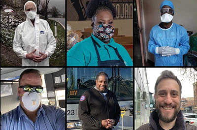 Portraits of 6 essential workers featured in the article