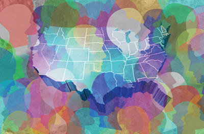 Graphic of U.S. map superimposed by silhouettes of people