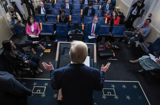 President Trump addresses the press at the White House