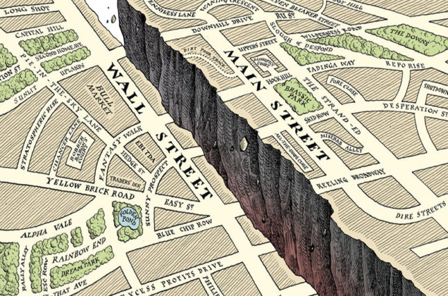 Graphic image of map showing Main St. and Wall St. with a deep canyon between them