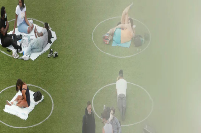 Photo of people sitting on the grass and the color fades from the left side to the right side