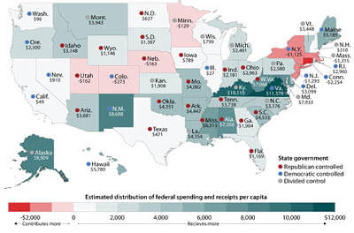 Map depicting the ration of what each state pays to the federal government in taxes vs. what it receives in benefits