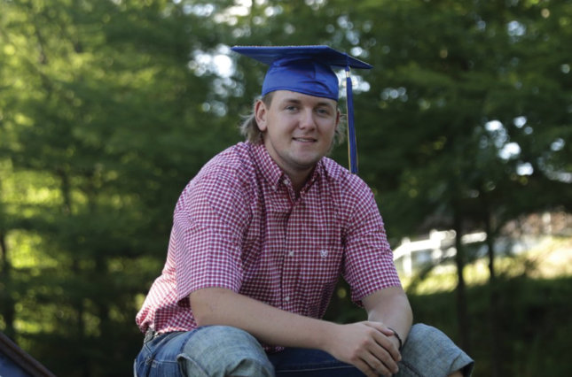 Medina High School graduate Gavin Walters poses for a photo near his home in Medina, Texas.