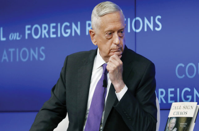Former U.S. Secretary of Defense Jim Mattis listens to a question during an appearance at the Council on Foreign Relations, in New York, in September. Mattis on Wednesday issued an extraordinary rebuke of President Trump.
