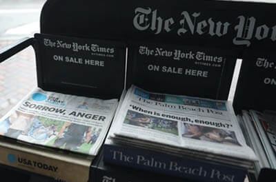 Newstand with a variety of newspapers
