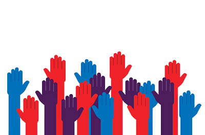 Graphic image of red, blue, and purple hands raised on a white background