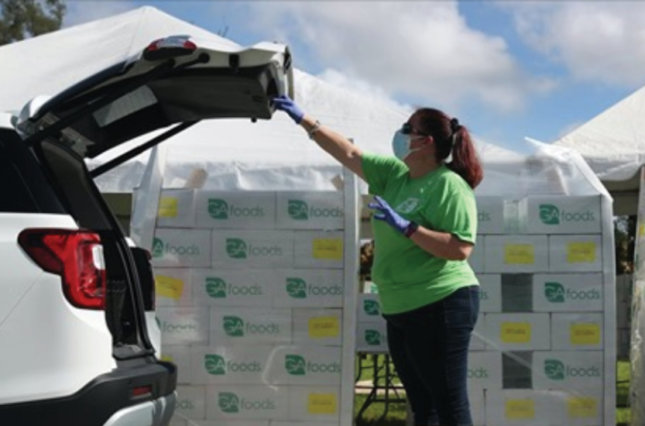 Worker loads box of Government Assistance food into a car