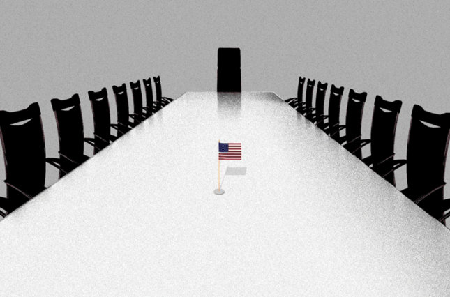 Tiny American flag in the middle of a large board room conference table