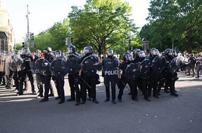 Police line at George Floyd protests in Washington, D.C. Photo credit: Ryan Kosmides