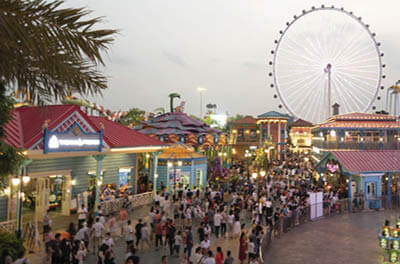 A bustling amusement park in China's Guangdong province