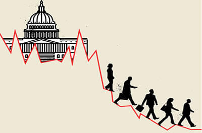 Graphic image of downward trend line coming from U.S. capitol building