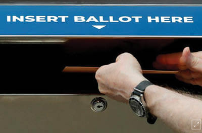 Man placing mail-in ballot in mailbox