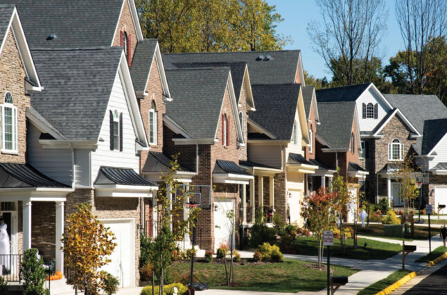 Homes in a wealthy white suburban neighborhood