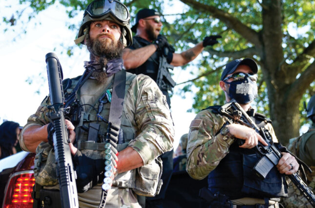 Members of a paramilitary group at a demonstration in Louisville, KY.