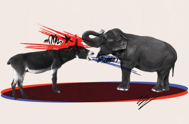 Illustration of a fighting elephant and donkey