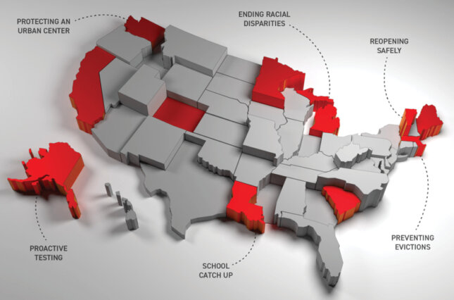 Graphic map of U.S. with call-outs on states that have more successfully managed the pandemic