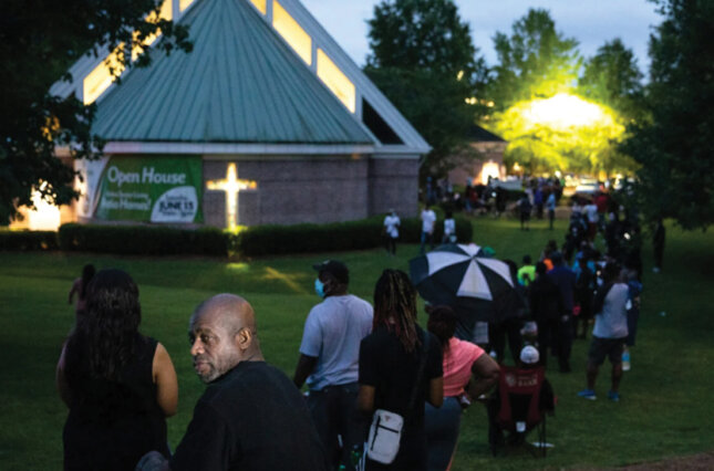 Voters at Christian City Welcome Center in Union City, Georgia, during the state's June primary. For some residents, it was a five-hour wait. (Dustin Chambers/Reuters)