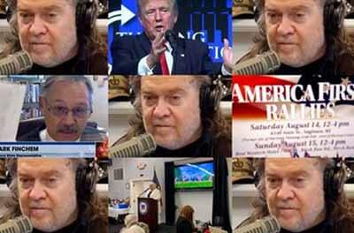 Photo montage from Steve Bannon's podcast calling for Republican activists to become voting inspectors