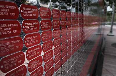 Names of U.S. service members on the 9/11 Memorial in New York City