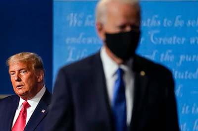 Donald Trump and Joe Biden at a 2020 presidential debate